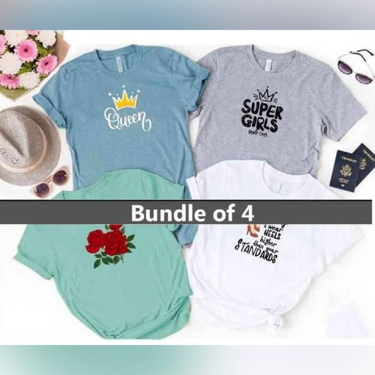 Bundle Of 4 Multi Colour Round Neck Half Sleeves Printed Cotton T shirts for Ladies Women & Girls
