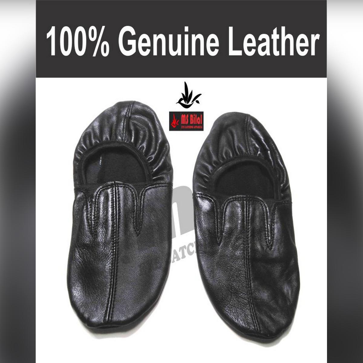 Leather Socks Boot 100% Genuine Leather Hajj Umrah Mozay for Men and Women - Black