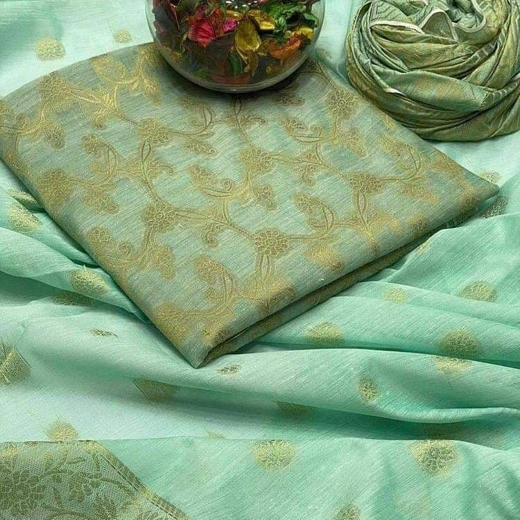 Cotton Jacquard stylish 3 Pcs Suit for Ladies in Light Green