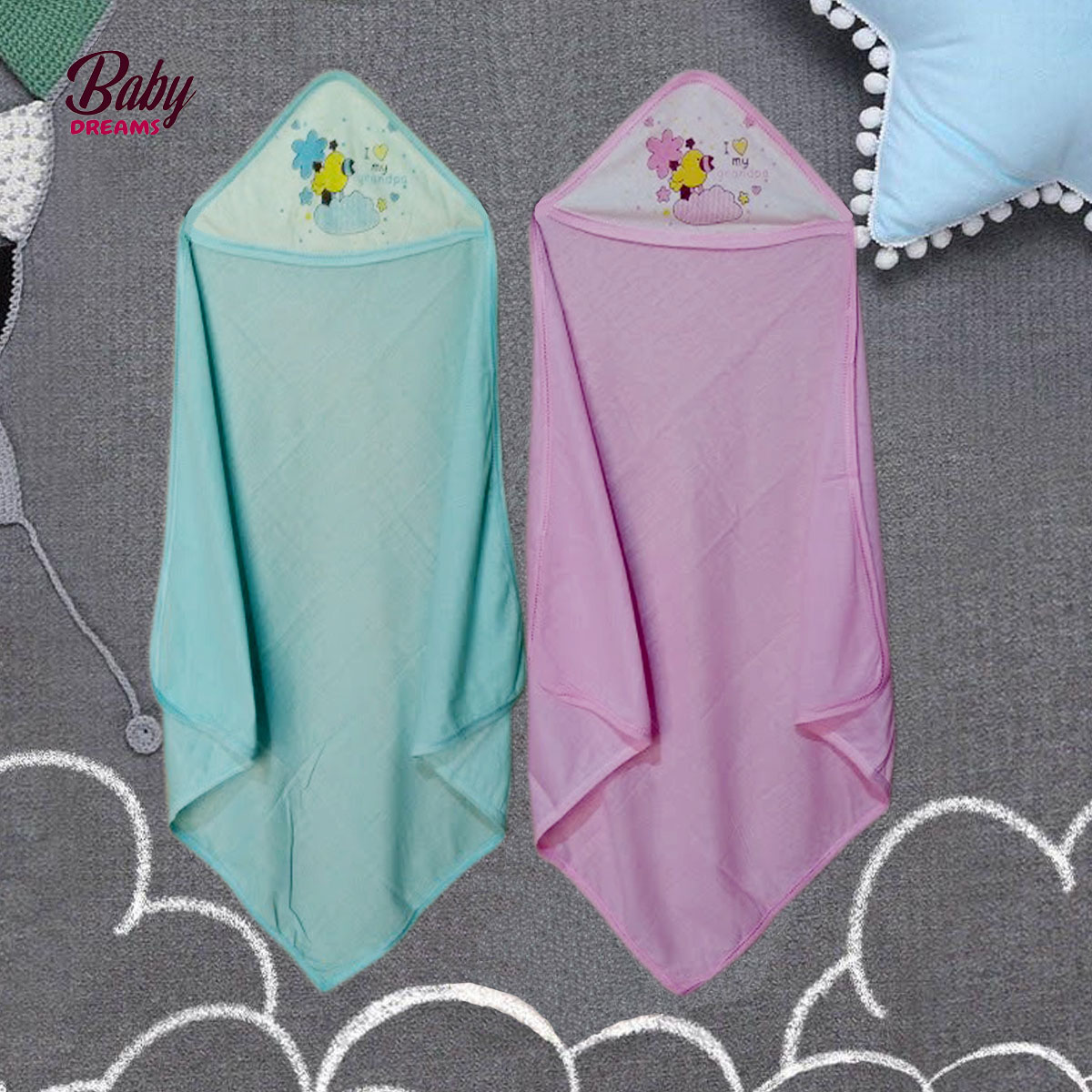 Baby Swaddles Wrapping Sheet With Hoddie (Pack Of 2) BD-F010