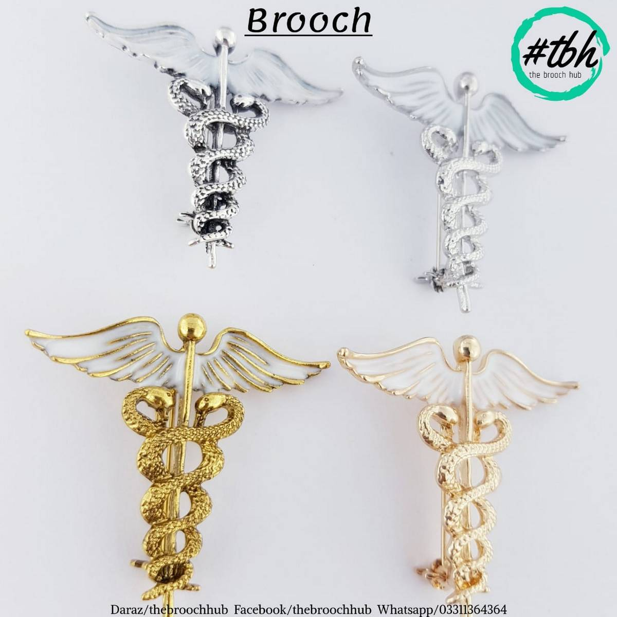 Doctor Caduceus Brooch - New Arrivals - Available in four Shades