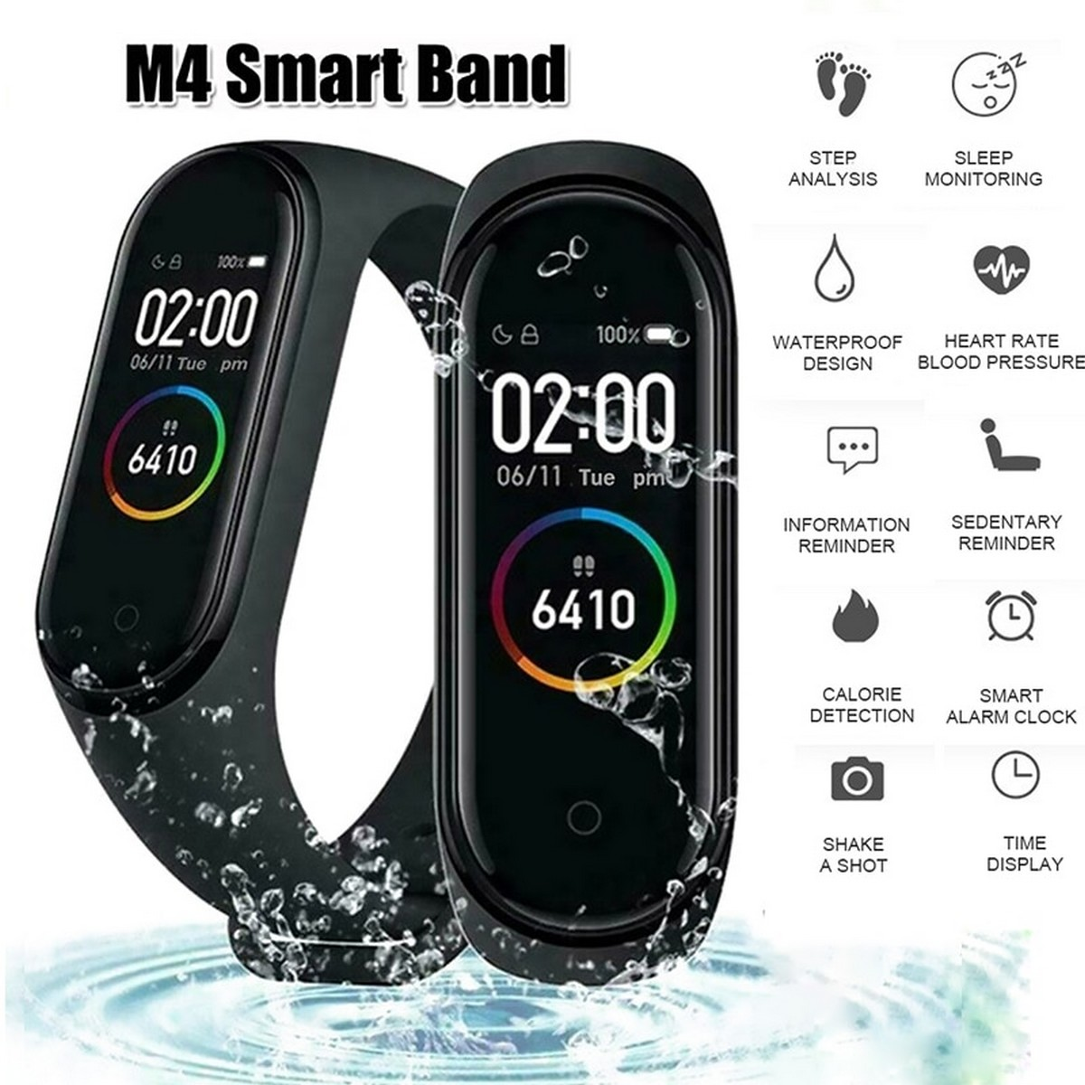 M4 Smart Band M4 Plus SmartBand Fitness Activity Tracker  Wrist Band Heart Rate Monitor Smart Watch For Men Women Android Smartwatch