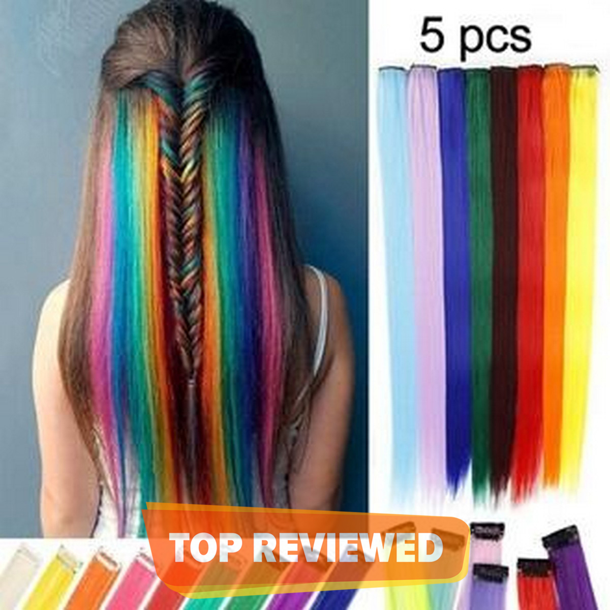 Pack of 5-PCS Long Straight Hair Clip Extentions-Multicolour