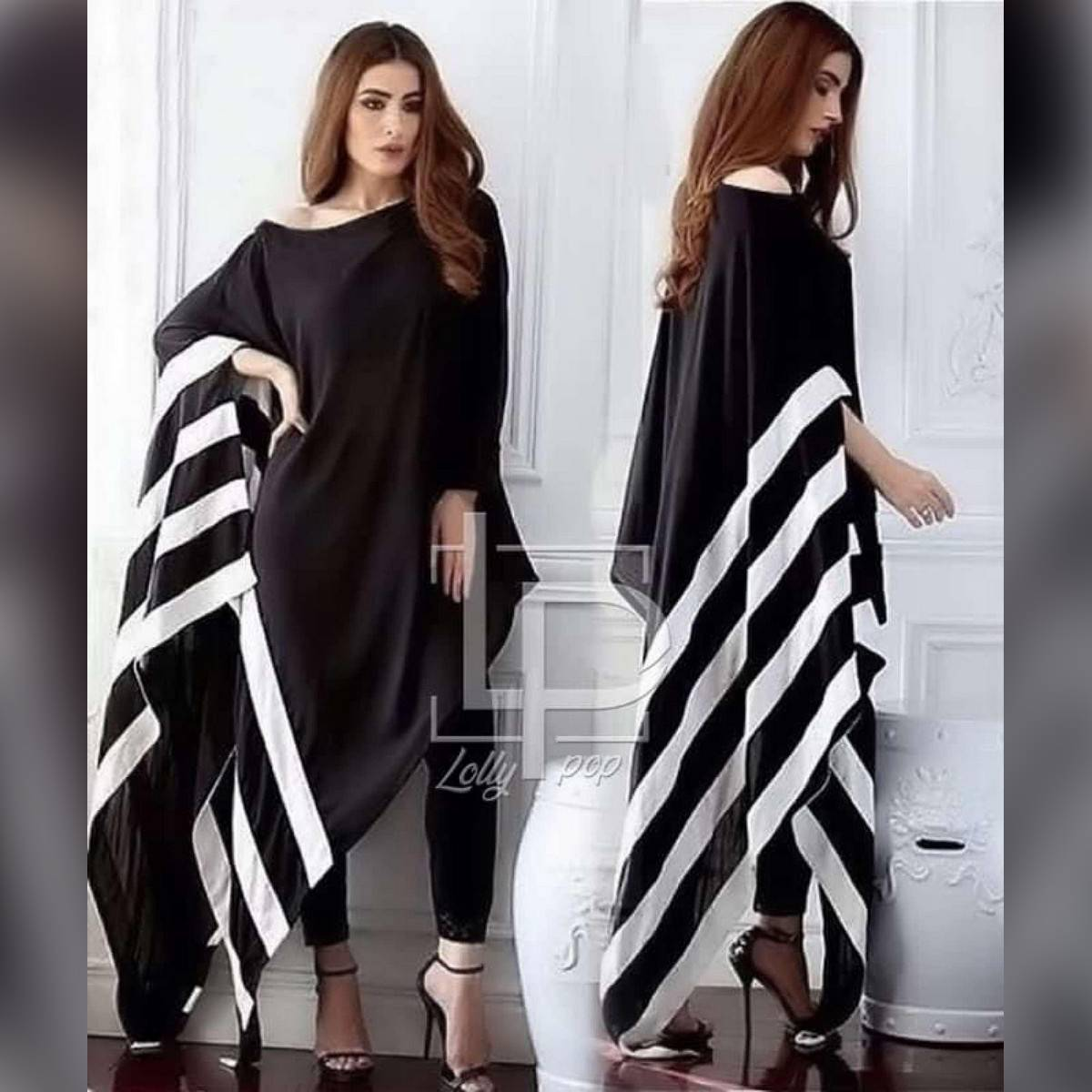 Summer Collection 2020 Black Stripe Poncho For Women