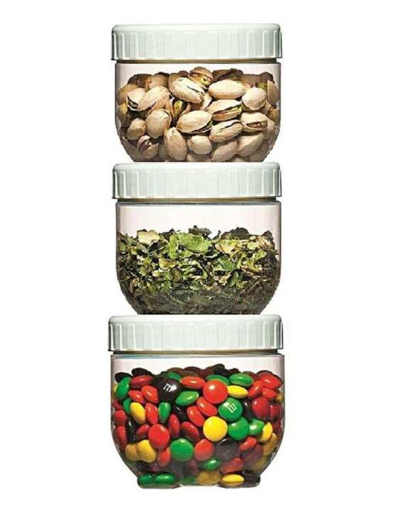 Pack Of 3 - Air Tight Food Storage Small Containers-White