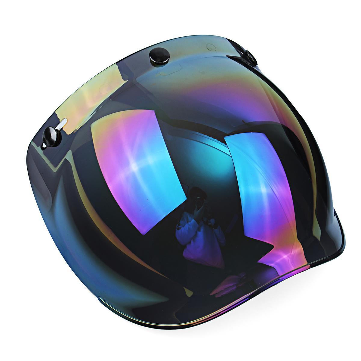 86328724 1 Set 3-Snap Sunglasses Motorcycle Helmet Bubble Visor Lens Windproof Retro  Motorbike Bubble Shield