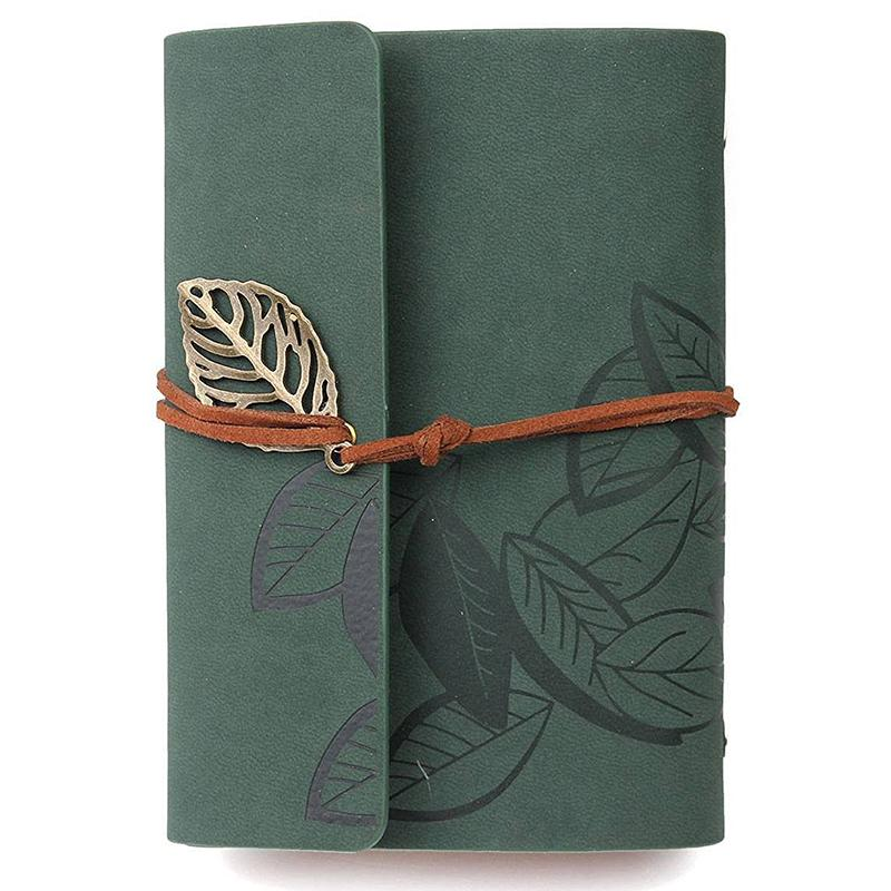 Diary notebook vintage style leather green