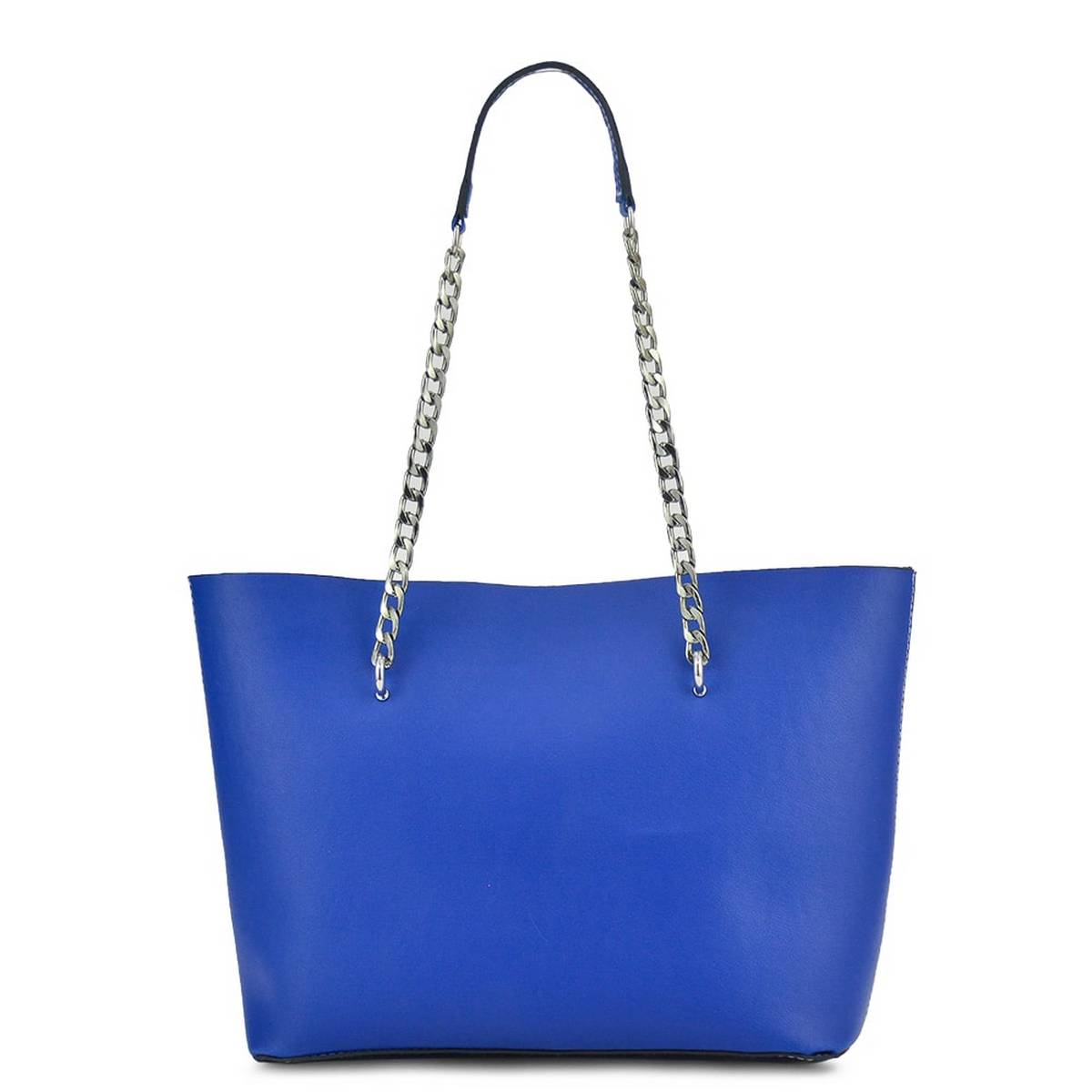 Astore Blue Verona Grey Metal Shoulder Fix Chain with Double Compartments Inside Multi Pockets and Mid Large Zip Pockets Vegan Leather Tote Bag Shoulder Bag Hand Bag