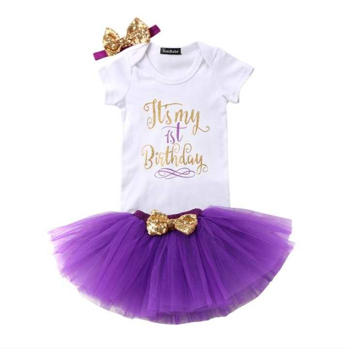 BABY GIRL FIRST BIRTHDAY SET ROMPER+SKIRT+HEADBAND (12 MONTHS)