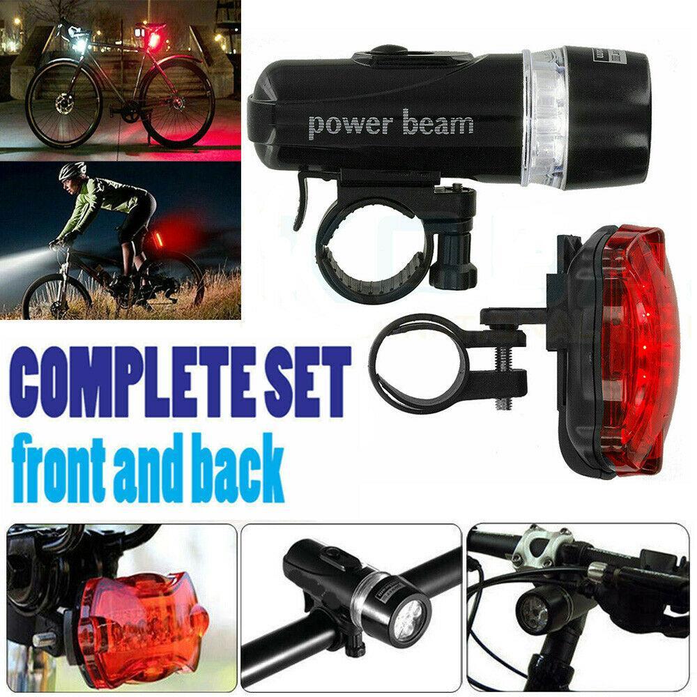 5 LED Lamp Waterproof Bike Bicycle Front Head Light Rear Safety Flashlight Set