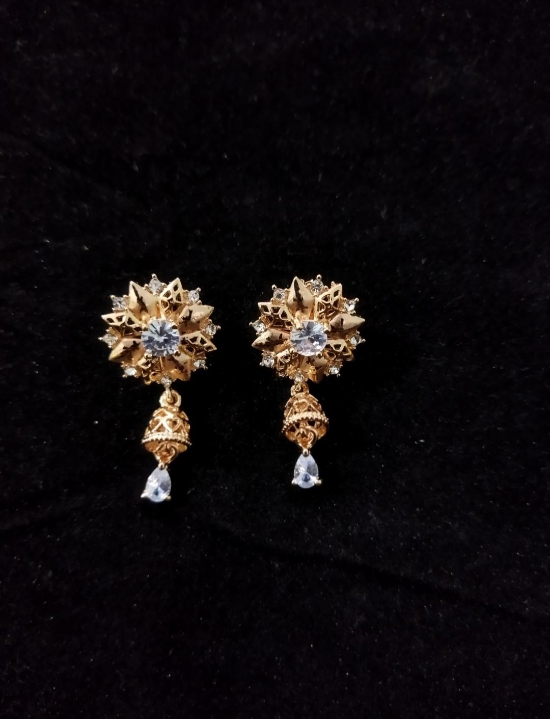 18 K Italian  Gold Plated Zircon Studded Ear Rings [ Jhumka Style] for Girls, Women