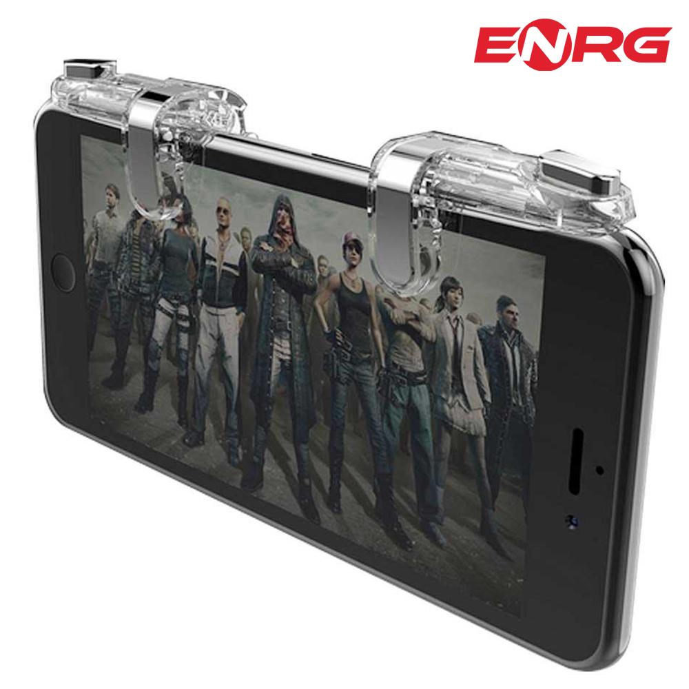 ENRG Metal Mobile Gaming Trigger Shooting Fire Button Controller L1R1 PUBG - Transparent