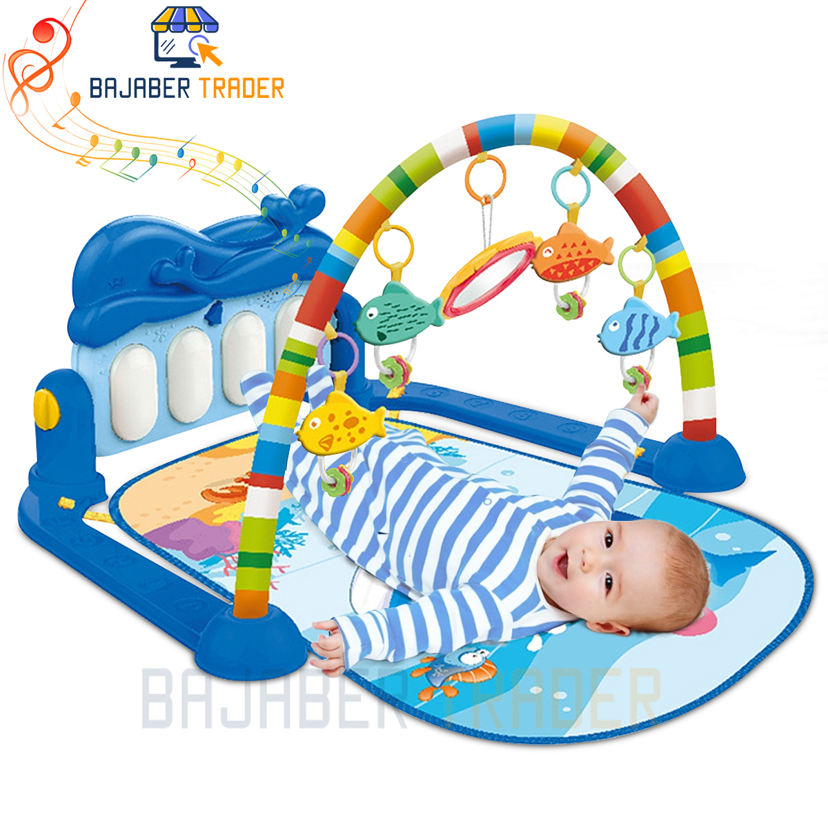 Huanger 3 In 1 Newborn Baby Toddler Activity Play Gym Piano Fitness Rack Mat With Lights And Music