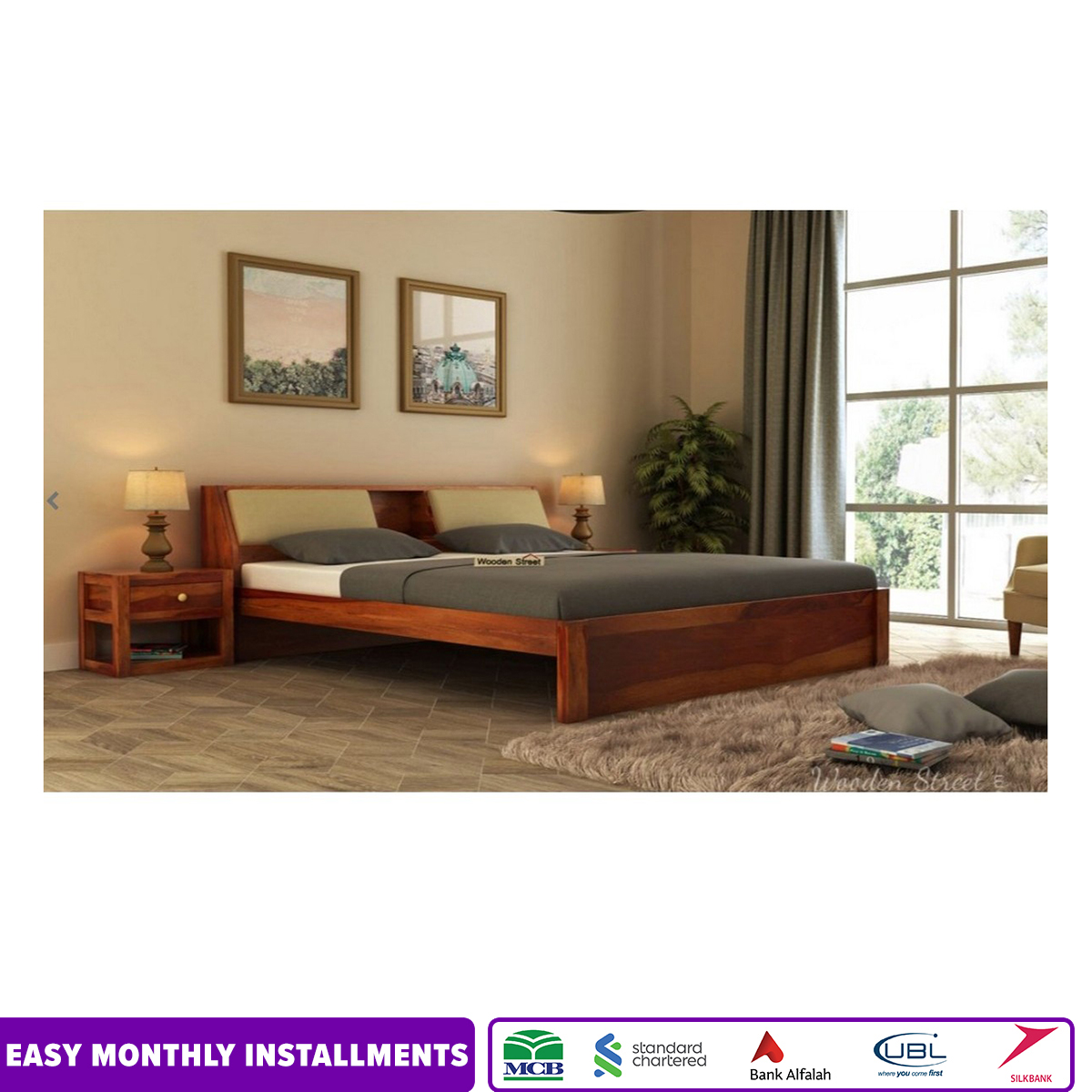 Walken Bed With two side table's (King Size, Honey Finish)