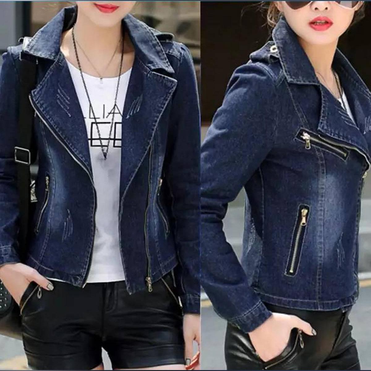 AZ-New Denim Zipper Jacket-Women