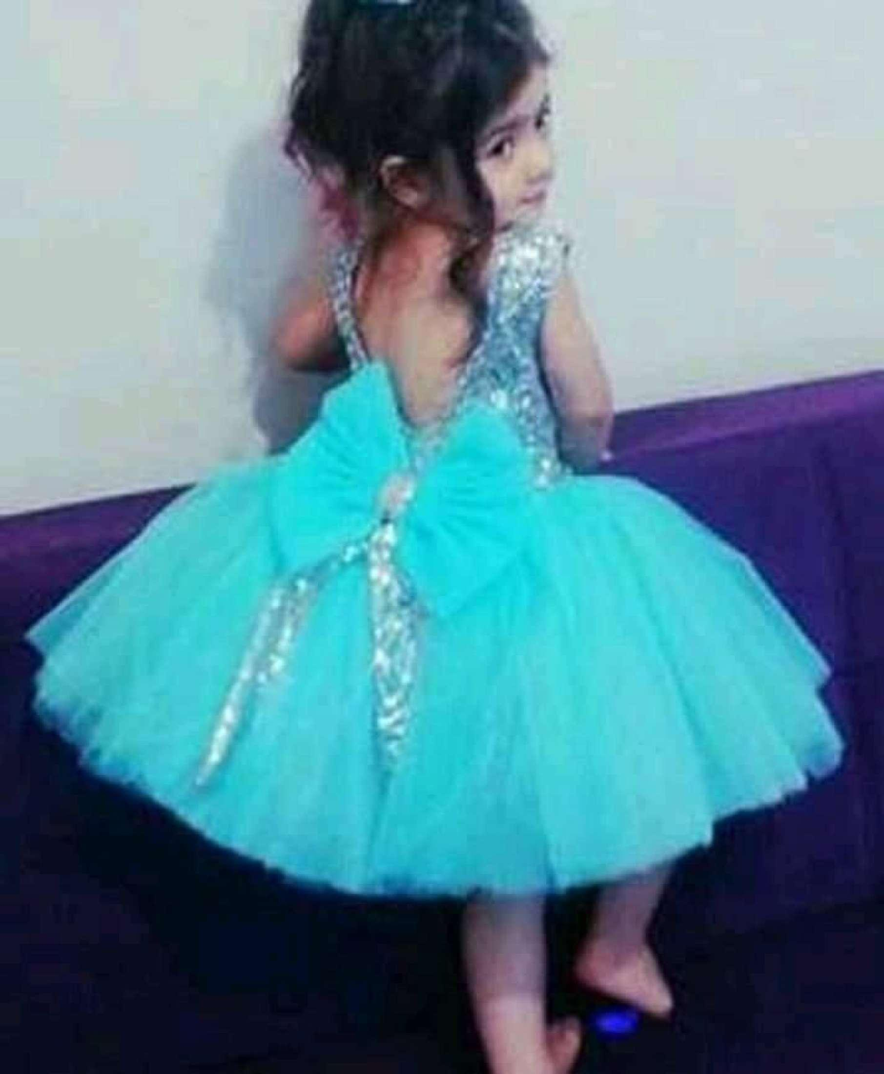 Net and silk Kids frock 6 month to 12 year Turquoise