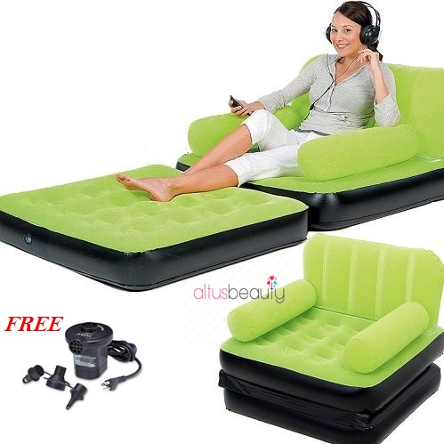 Inflatable Sofa Bed Single - Green With Electric Pump
