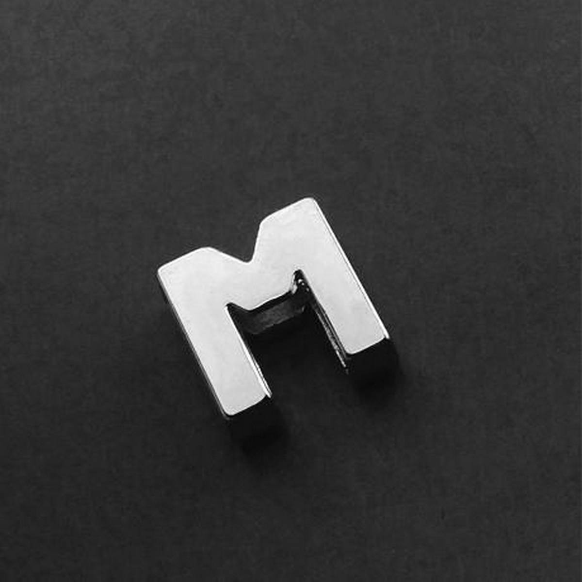 """Silver Stainless """"M"""" Alphabet Locket with Chain For Girls & Boys"""