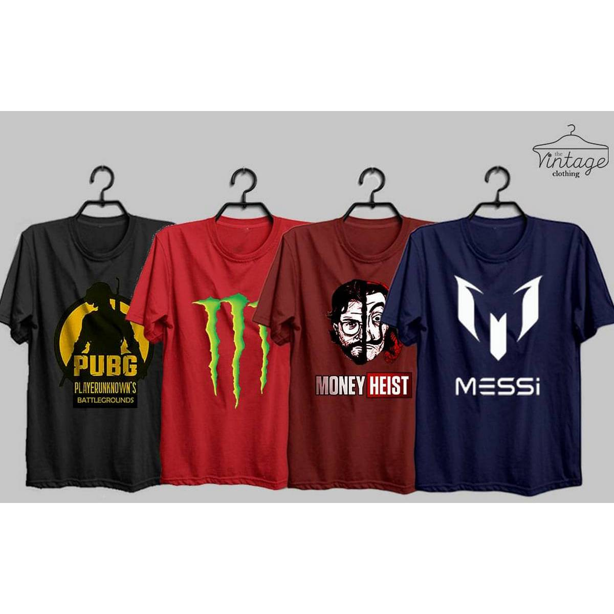 The vintage clothing pack of 4 premium printed T shirts