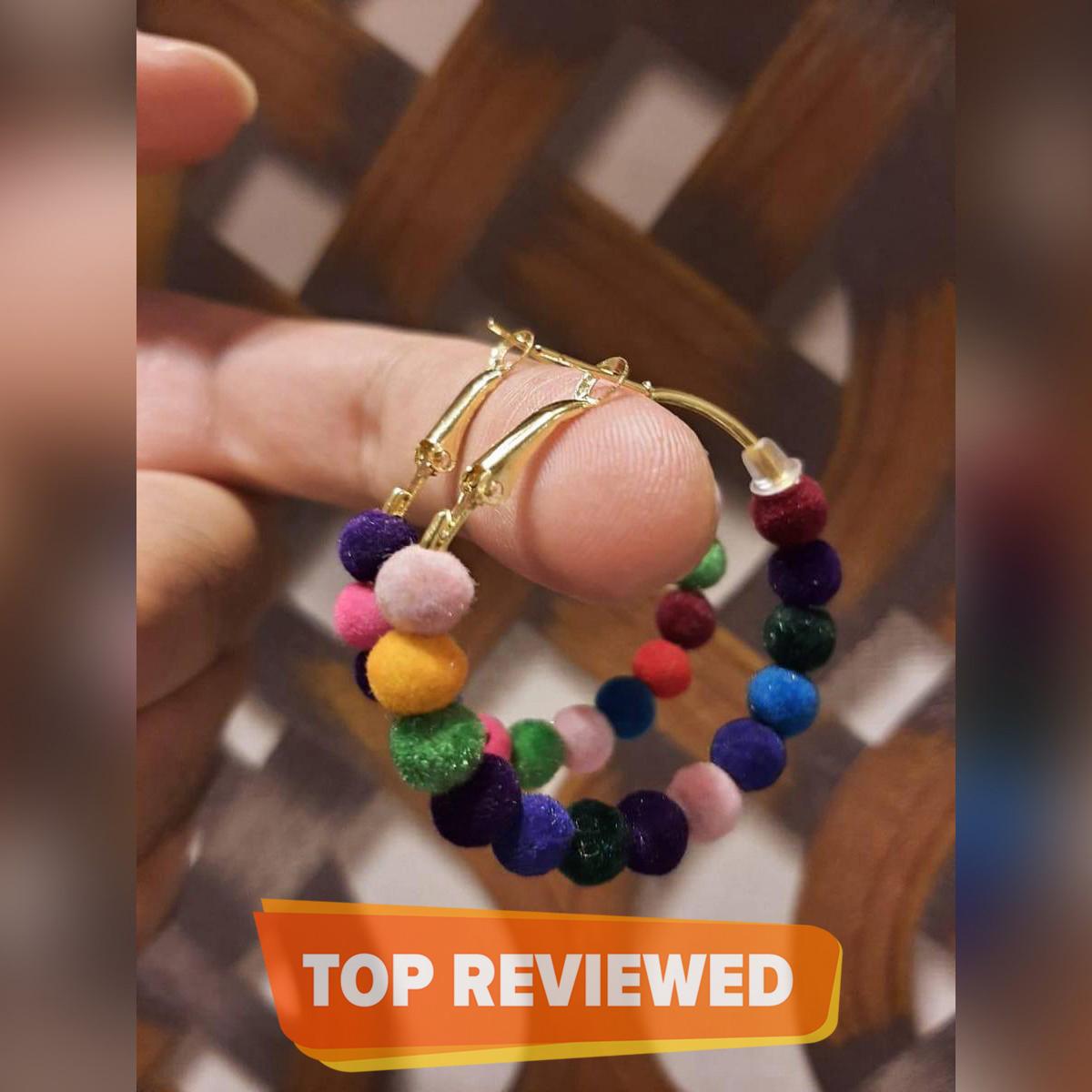 High Quality Velvet Balls Delicate Hoop Classy Multi Jhumki Trendy Earring