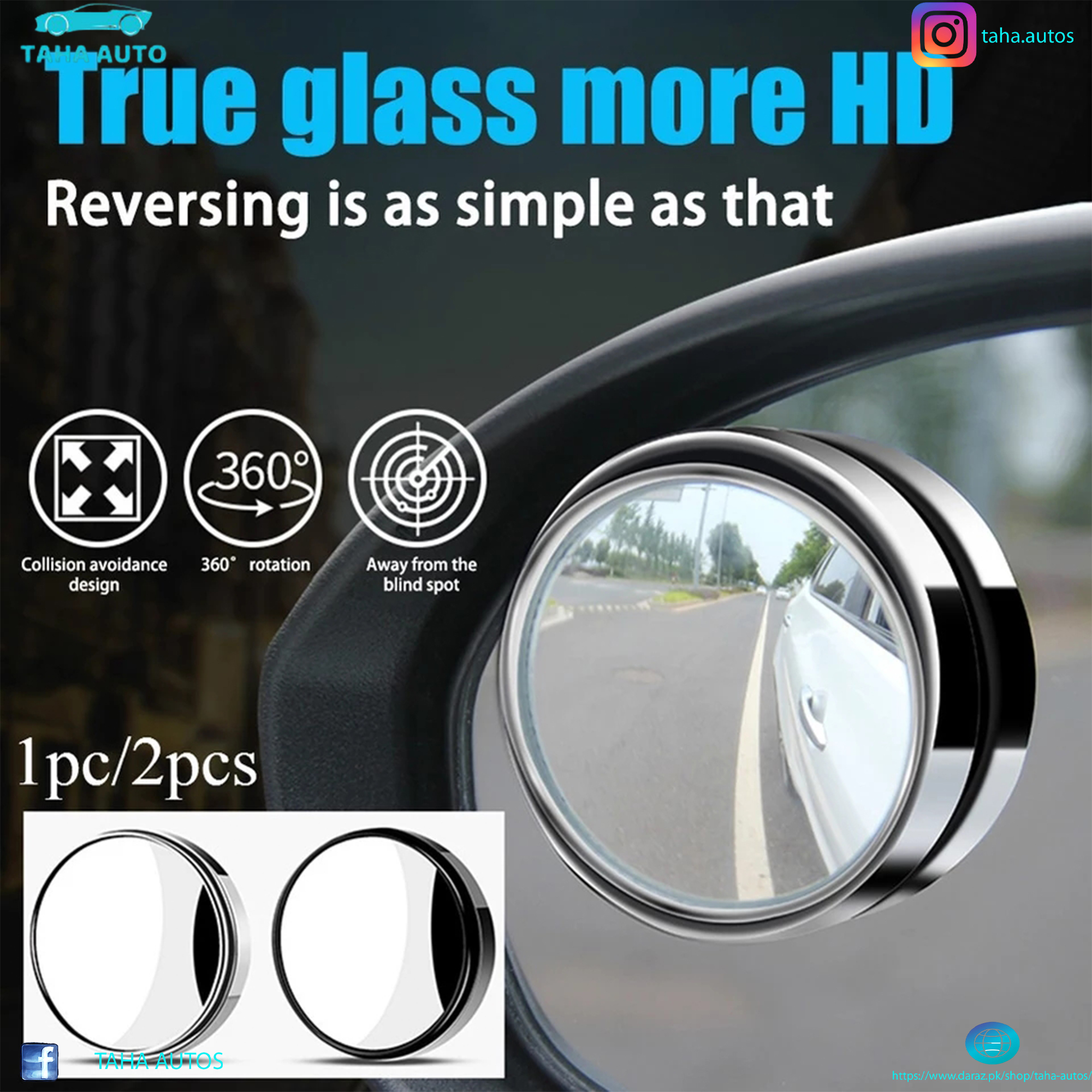 Car round mirror Rear view Blind spot Wide-angle lens - 2 pcs