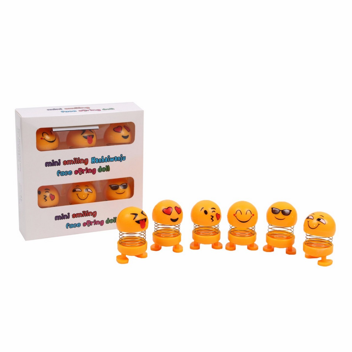 Set of 6 - Spring Emoji Shaking Head Dolls Smiley Face Dancing Toys Theme Party Favors Car Dashboard Table Decoration