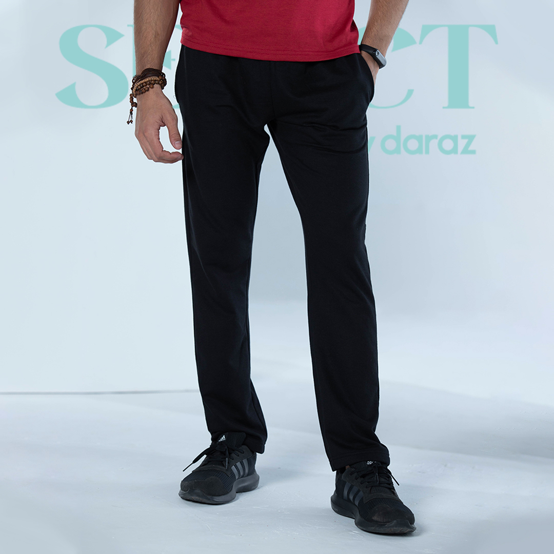 Select By  Basic Jersey Trouser For Men - Black