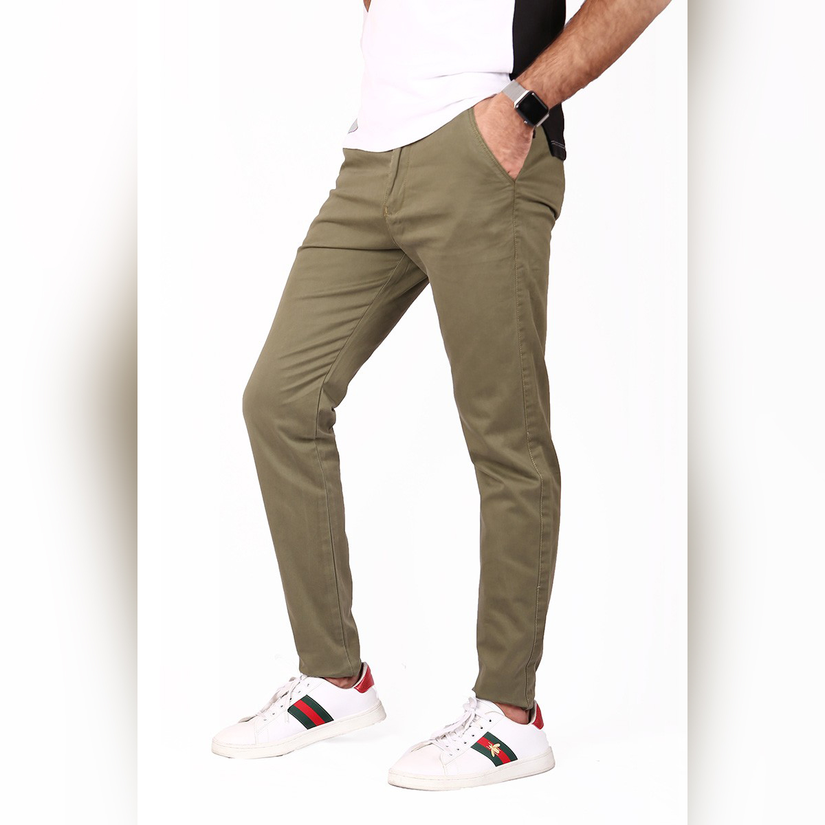 Men's Slim Fit Chino Cotton Pant - Olive Green