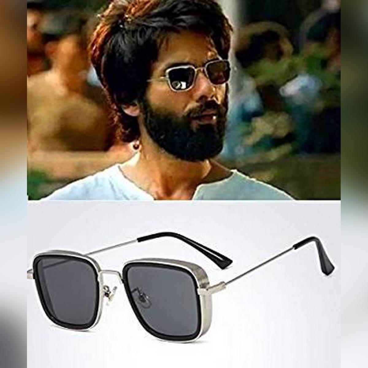 Men Retro Sunglasses Silver Body Padded Shahid Kapoor inspired Kabir Singh moive Glasses