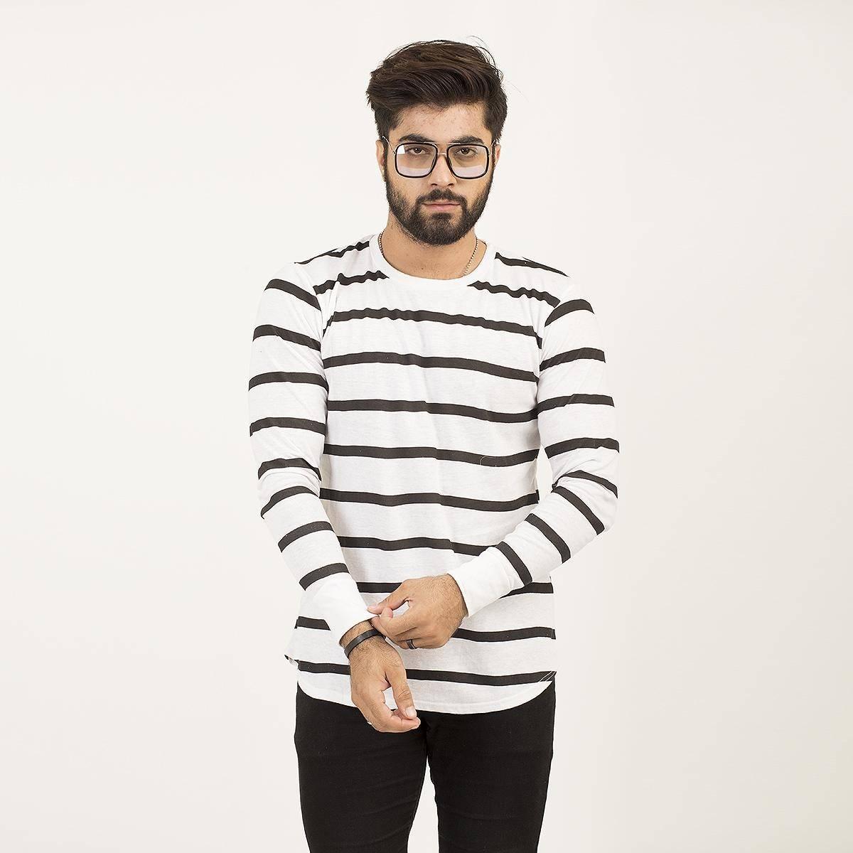 Paradise Zone Full Sleeves White Printed Tshirt For Men