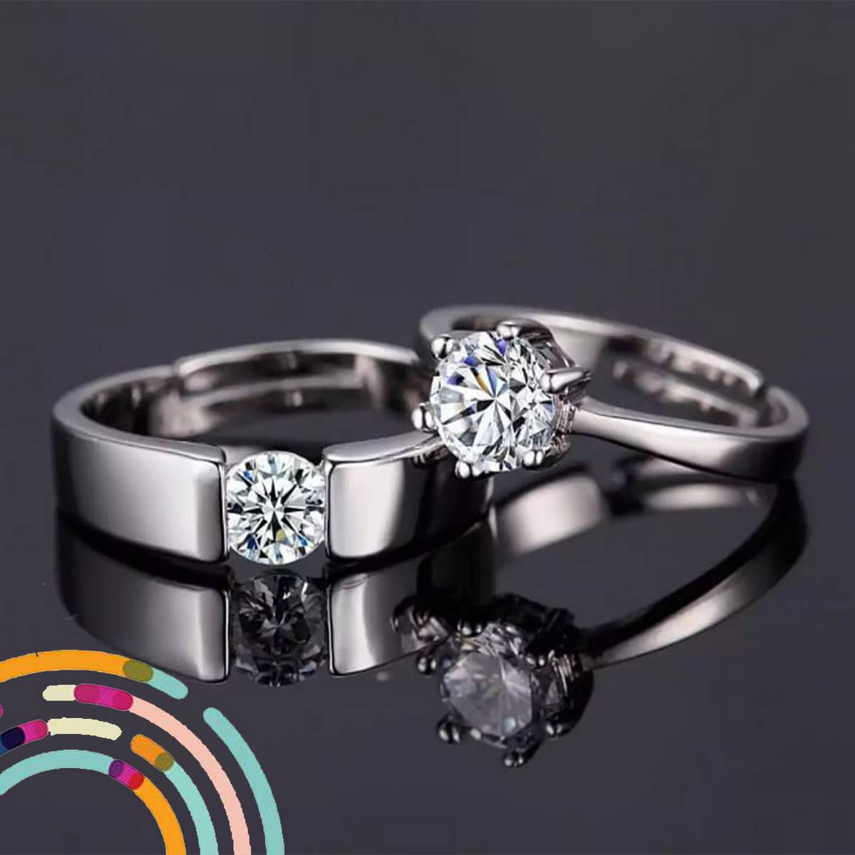 White Gold Plated Crystal Proposal Couple Rings for Boys and Girls