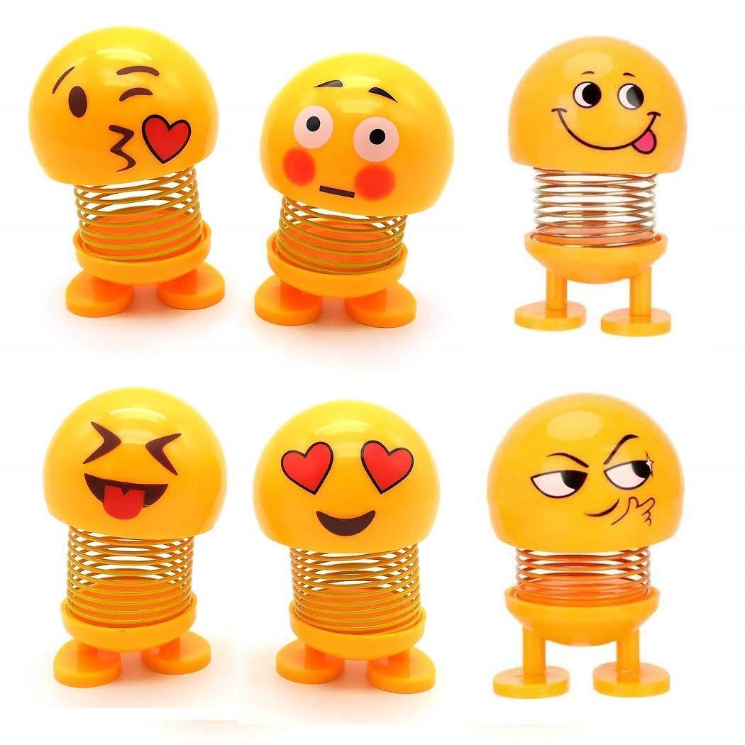 Pack of 6 Small Spring Shaking Head Dolls, Cute Emoji Dolls for Car Dashboard - Swing Dolls