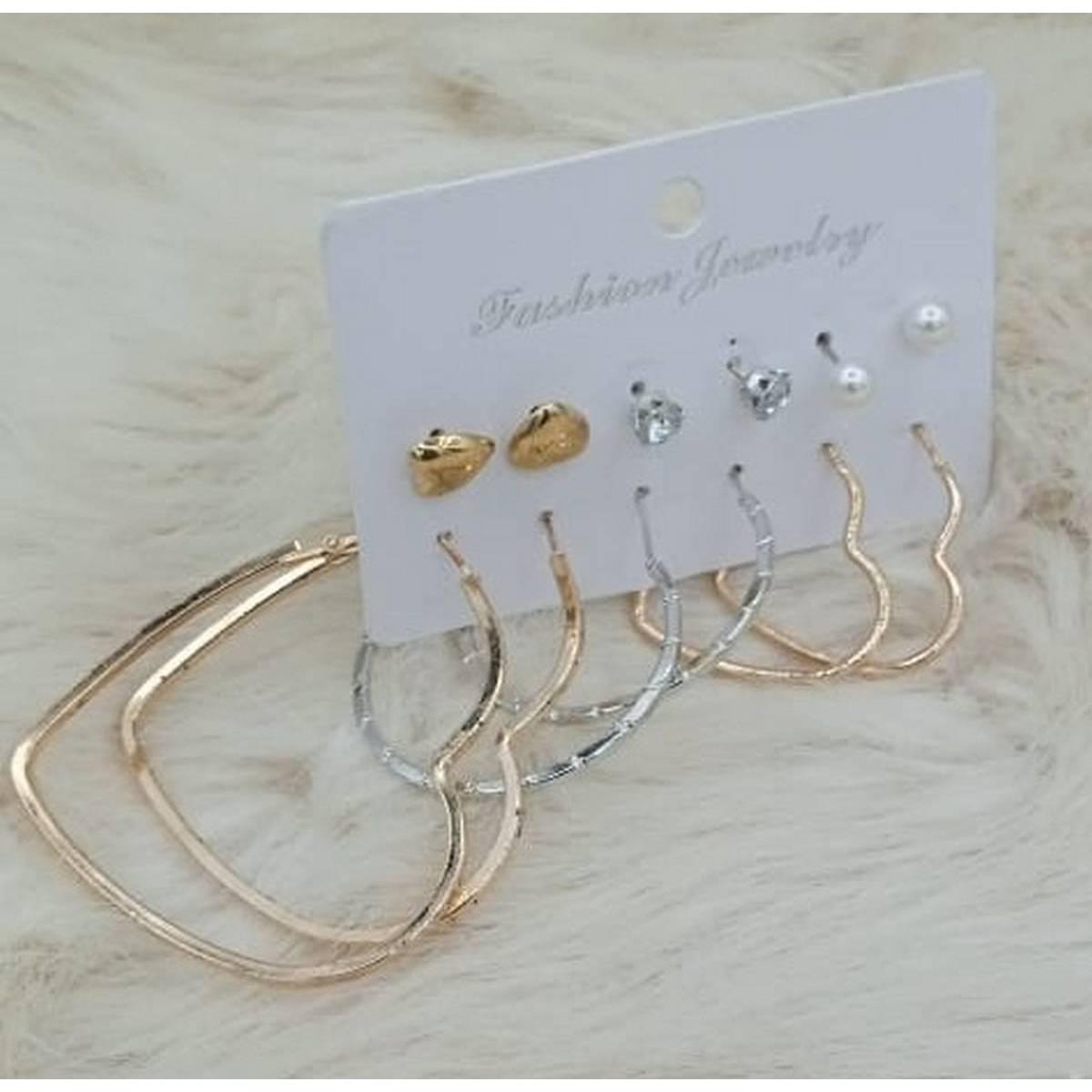 Amazing Big 6 pairs/sets Hoop Earring Stud Earring Fashion For Women Girl Jewelry Earring ( 3 Bali & 3 Tops )