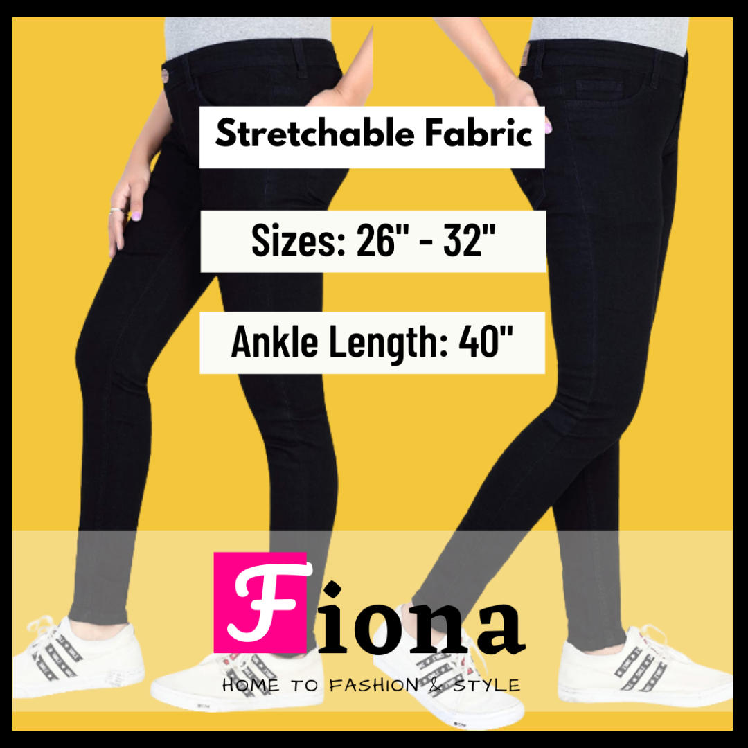 Ladies jeans in Black, White & Blue for Woman - Stretchable Fabric - Skinny & Bulky all Sizes available - by Fiona.pk