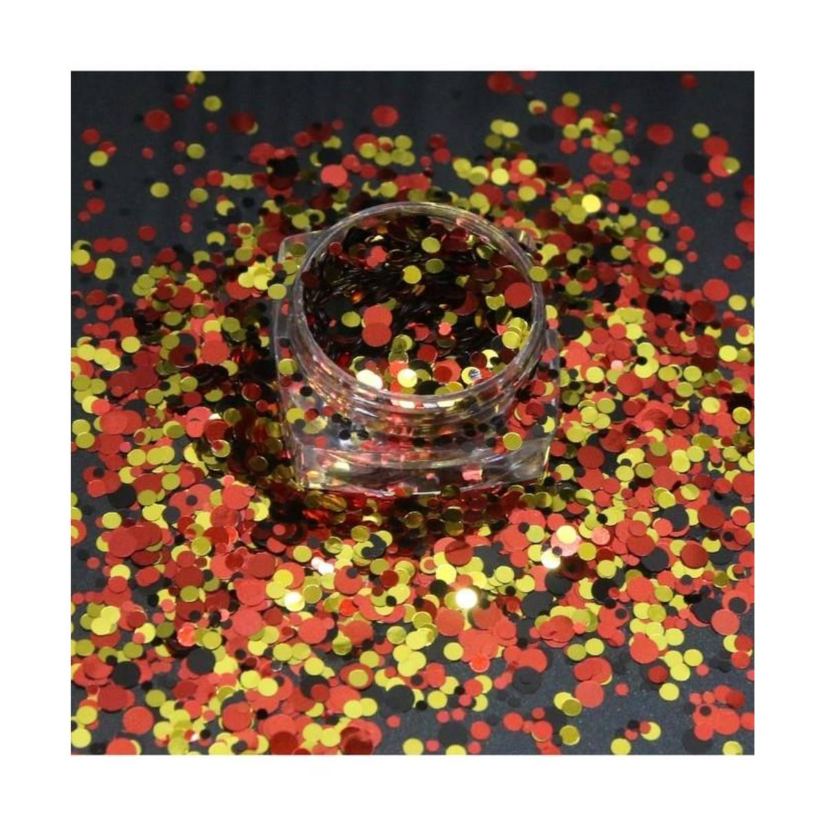 3g Red Golden and Black Glitter Pot For Nails