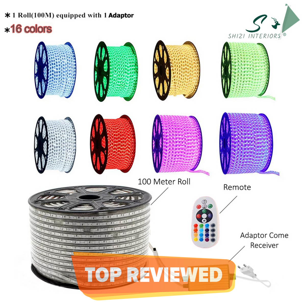 Shizi 15 Meter to 100 Meter - LED Strip Light Color Changing Remote Control Rgb 5050 Model - 16 Color LED Strip with Adapter and Remote - 15 Meter/20 Meter/50 Meter /100 Meter