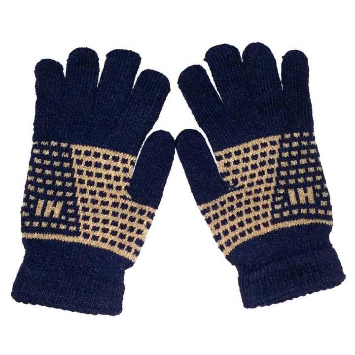 Hi Charlie Lamb Wool Gloves for Men-Dark Blue