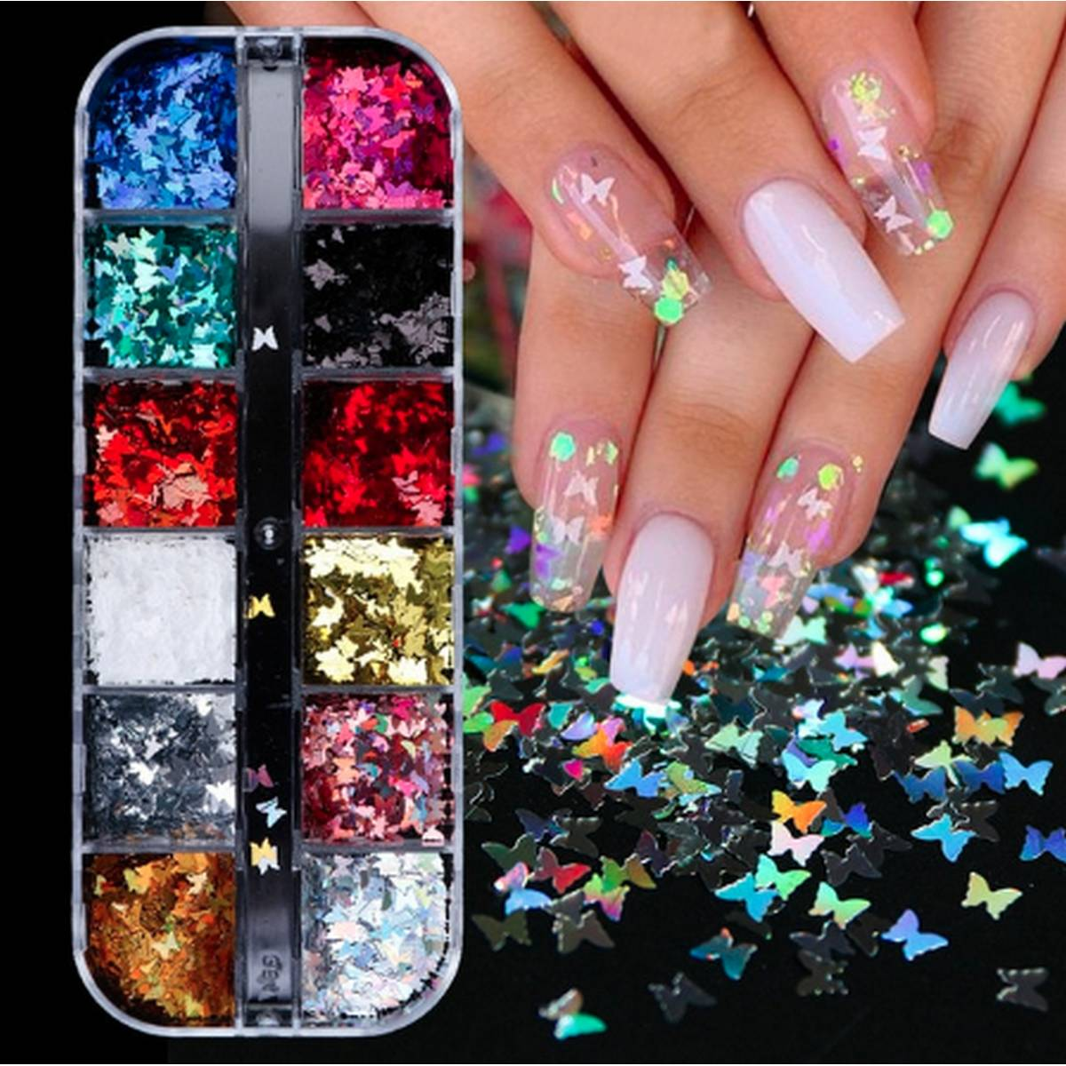12 Grids/Set Butterfly Nail Art Glitter Sequins Laser Design Sparkle Butterflies Nail Flakes