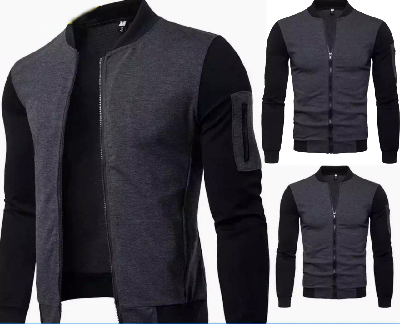 Stylish Charcoal Zipper Jacket