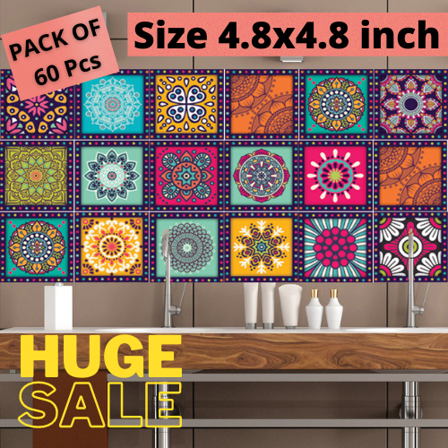 Wall Attraction Tile Stickers Pack of 60 pieces for Home Decor Mandala Art Design Self Adhesive Wall Tile Sticker for Kitchen Floor Bathroom 4.8 x 4.8 inch (60 Pieces)