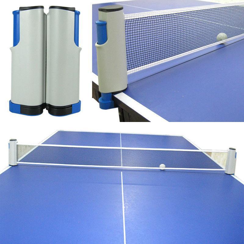 Retractable Table Tennis Net Plastic Mesh Net Rack - Grey