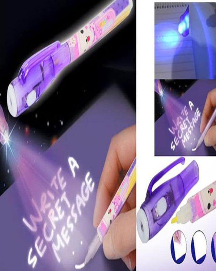 Secret Invisible Writing Pen UV Torch Illuminate Magic