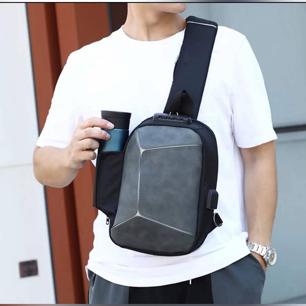 Anti-theft Crossbody Bag for Men/Men Sling Shoulder Bag/Men Chest Bag/Messenger Bag/Cross body Bag With Code Lock/Casual Bag with Leather Front
