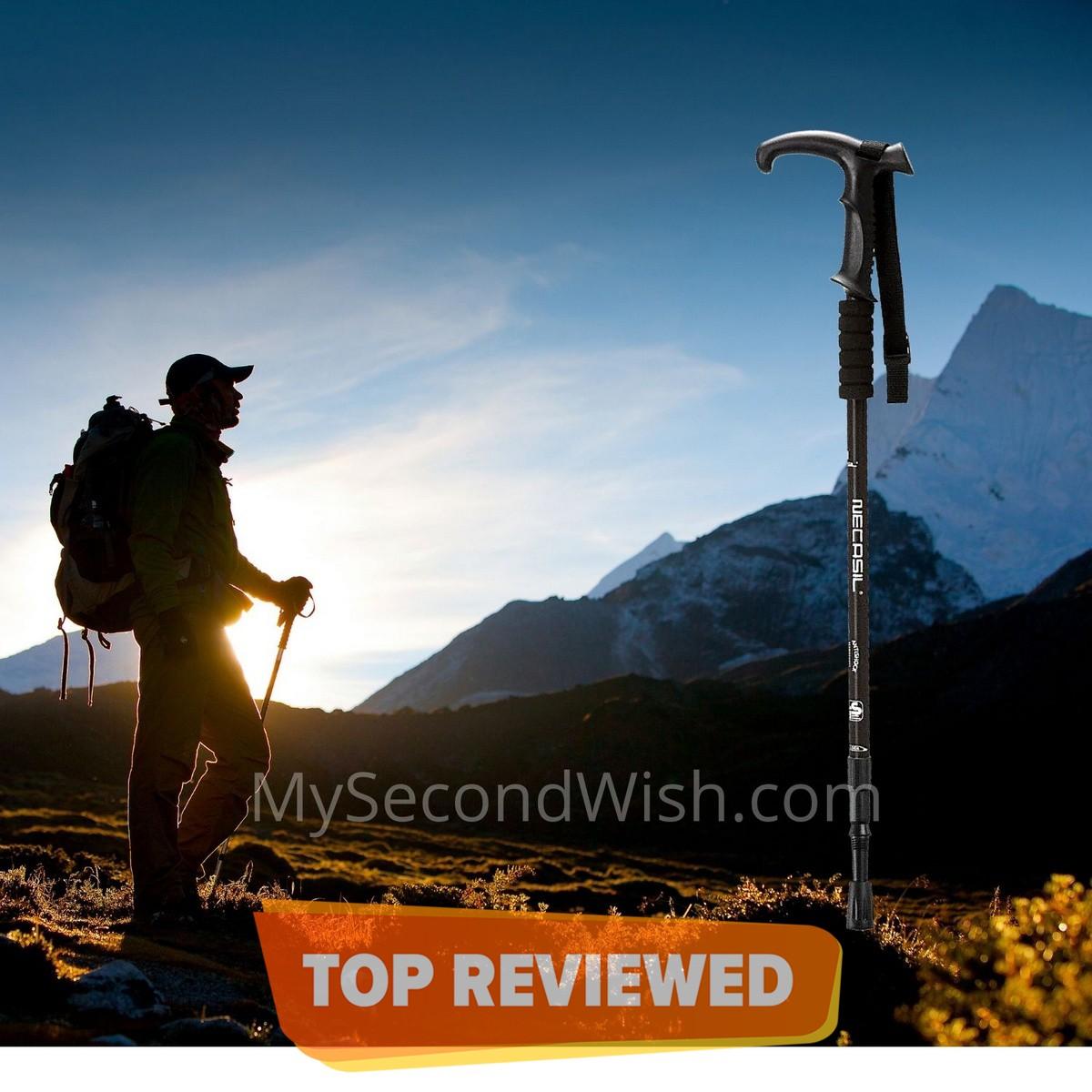 Anti-Shock Hiking Pole Folding Hiking Trekking Walking Stick Torch