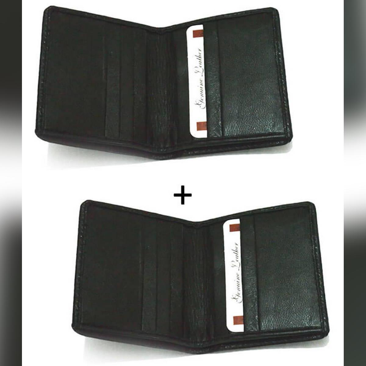 Pack of 2 -BACK Leather wallet Slim AND Soft Card Holder For Men & Women