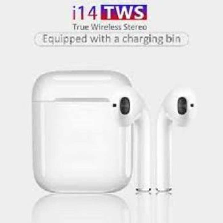 i14 TWS Bluetooth Earphones 5.0 Portable Smart Touch Headphones Binaural Call Talk Headset with Charging Compartment