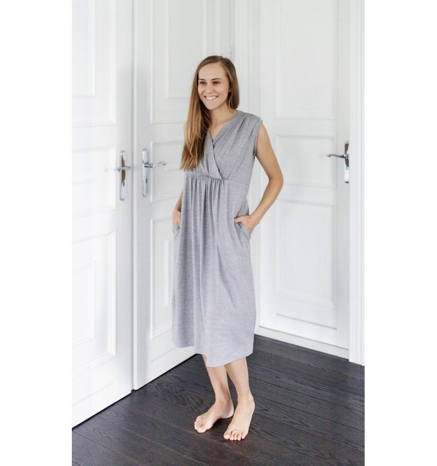 K-Linen Maternity Gown / Feeding Gown - Sleveless