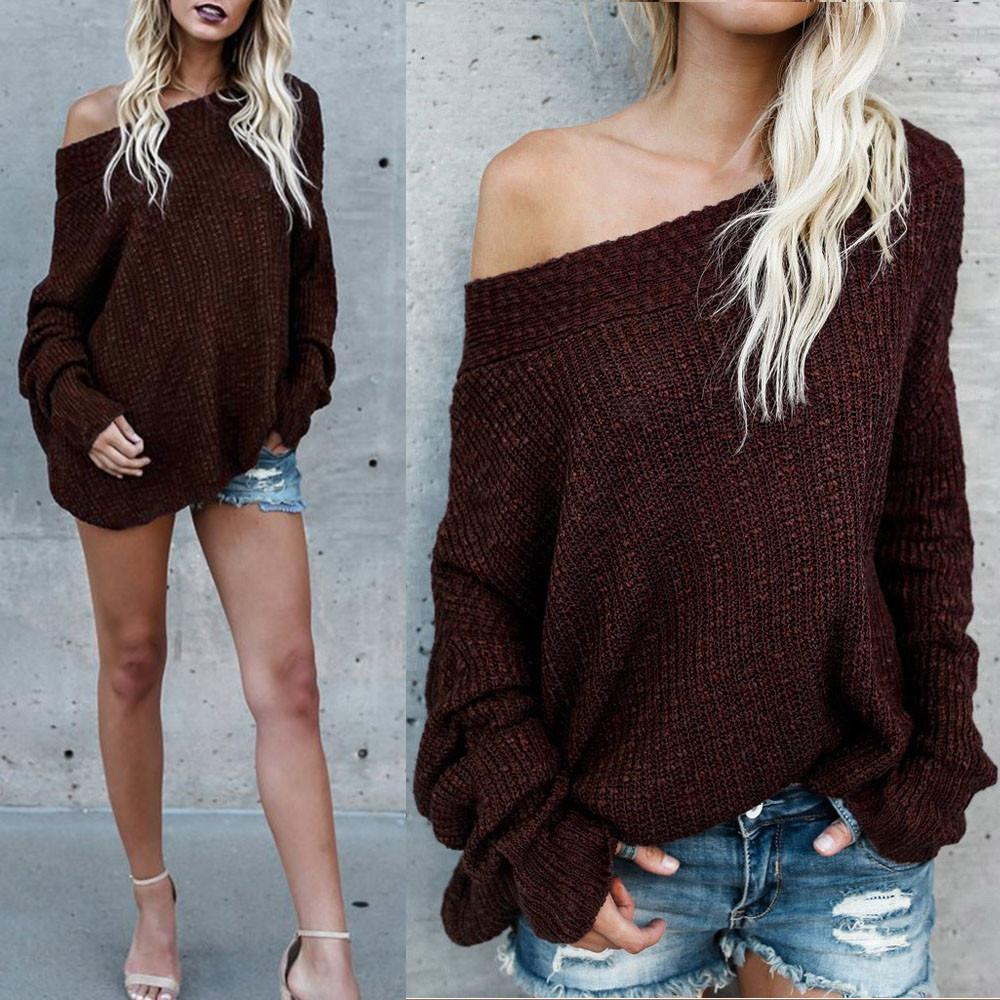 Gobought Women s Off Shoulder Long Sleeve Loose Fit Knit Sweater Tops  Pullover 1349e8e5a