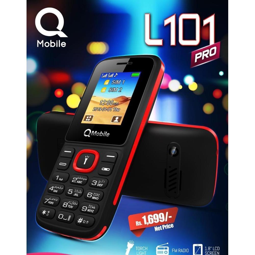 Qmobile L101 Pro, 1 8inch Display, Dual-Sim, Music Keys, Camera,Torch, FM  Radio, PTA Approved
