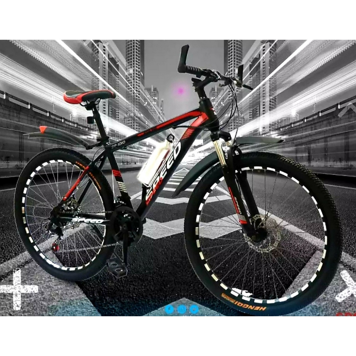Speed Bicycle 26 inches Adjustable Seat Reflector RIM Hand Safety System and Gear Safety Mountain & Road Bike with Bottle Alloy